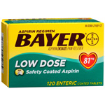Bayer Low Dose Aspirin, 81mg Enteric Coated Tablets, 120 ea