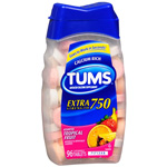 Tums E-X Extra Strength Antacid/Calcium Supplement, Tropical, 96 ea