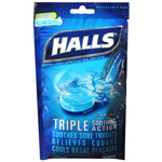 Halls Mentho-Lyptus Cough Suppressant Drops, Ice Peppermint, 30 ea