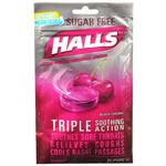 Halls Sugar Free Cough Suppressant Drops, Black Cherry, 25 ea