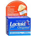Lactaid Original Strength Lactase Enzyme Supplement, Caplets, 120 ea