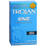 Trojan-Enz Premium Lubricant Latex Condoms, 12 ea