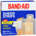 Band-Aid Sheer Adhesive Bandages, Assorted, 80 ea
