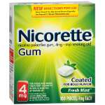 Nicorette Nicotine Gum 4mg, Fresh Mint, 100 ea