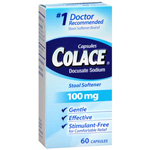 Colace Stool Softener Laxative 100 mg, Capsules, 60 ea