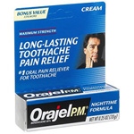 Orajel PM Toothache Pain Relief, Long Lasting Cream, .25 oz