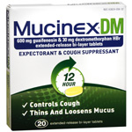 Mucinex DM Expectorant, Cough Suppressant, Extended-Release 600 mg Tablets, 20 ea