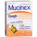 Mucinex Kids Cough, Expectorant, Mini-Melts Orange Creme, 12 ea