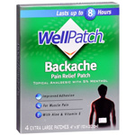 WellPatch Backache Pain Relieving Pads, 4 ea
