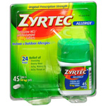 Zyrtec Allergy, 24 Hour 10 mg Tablets, 45 ea