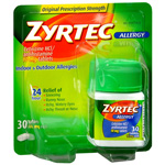 Zyrtec Allergy, 24 Hour 10 mg, Tablets, 30 ea