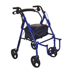 Drive Medical Duet Transport Chair/Rollator, Blue, 1 ea