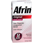 Afrin Nasal Decongestant 12 Hour Relief Nasal Spray, Original - 15Ml