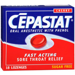 Cepastat Sore Throat Lozenges, Sugar Free, Cherry - 18 lozenges
