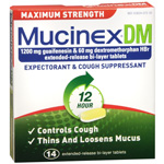 Mucinex DM Expectorant Cough Suppress Ext Release 1200 mg Tablets 14ct