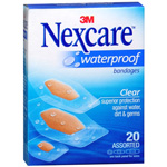Nexcare waterproof clear bandages, assorted, 588-20, 20 ea