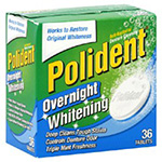 Polident Denture Cleanser, Anti-Bacterial, Overnight Whitening, 36 ea