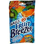 Halls Fruit Breezer Pectin Throat Drops Tropical Chill Bag - 25 Drops