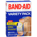 Band-Aid Adhesive Bandages, Variety Pack, Assorted Sizes, 30 ea