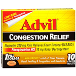 Advil Congestion Relief 200mg Coated Tablets 10 ea