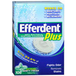 Efferdent Plus Denture Cleanser with Extreme Minty Fresh, 108 Ea