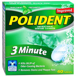 Polident 3 Minute Antibacterial Denture Cleanser - 40 Tablets
