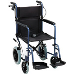 NOVA 330 Lightweight Transport Chair with Hand Brakes (Blue)