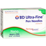 Diabetes BD Ultra-Fine Nano Pen Needle, 32g x 4mm, 100