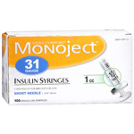 Monoject Syringes 31 Gauge 1cc, 100-Count Box