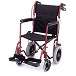 Nova Red Lightweight Transport Chair with Hand Brakes 19""