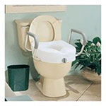 Carex Health Brands B30400 Toilet Seat EZ-LCK EQ Raised W/ Arm