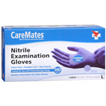 CareMates Nitrile Latex and Powder Free Gloves, Large, 100 ea