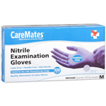 CareMates Nitrile Latex and Powder Free Gloves, Medium, 100 ea