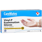 CareMates Vinyl Powder Free Gloves Latex, Large, 100 ea, Care#903