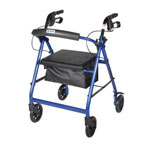 "Drive Four Wheel Foldable Aluminum Rollator and Removable Back Support, Padded Seat, 6"" Casters with Loop Locks - Blue, R726BL"