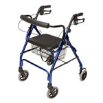 "graham Field Four Wheel Padded Seat With Basket Rollator-Blue, 6"", 300pounds"