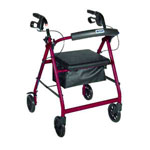 "Drive Four Wheel Foldable Aluminum Rollator and Removable Back Support, Padded Seat, 6"" Casters with Loop Locks - Red, R726RD"