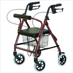 "graham Field Four Wheel Padded Seat With Basket Rollator-Red, 6"", 300pounds"
