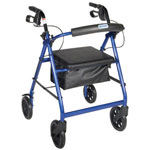 "Drive Four Wheel Aluminum Rollator Fold Up and Removable Back Support, Padded Seat, 8"" Casters Loop Locks, Blue, , R728BL"