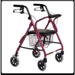 Essential Featherlight Four Wheel Loop Break rollator-Red