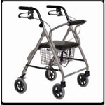 Essential Featherlight Four Wheel Loop Break rollator-Silver