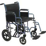 "Drive 22"" Heavy Duty Bariatric Steel Transport Chair with Removable Arms-Blue, BTR22-B"