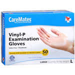 Caremates Vinyl-P Exam Gloves, Large, 50 ea