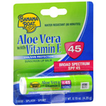 Banana Boat Aloe Vera with Vitamin E Sunscreen Lip Balm SPF 45, 0.15 oz