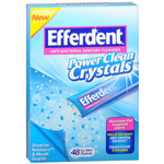 Efferdent Power Clean Crystals, Anti-Bacterial Denture Cleaner, Icy Mint, 48 ea