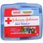 Johnson & Johnson First Aid Kit, Safe Travels, 70 pc
