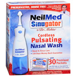 NeilMed Sinugator Cordless Pulsating Nasal Wash with 30 Premixed Packets, 1 set