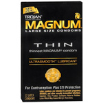 Trojan Condoms Magnum Lubricated Latex Thin, Large 12 ea
