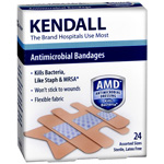 Kendall Antimicrobial Bandages Assorted, 24 ea