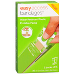 Easy Access Bandages Water Resistant Plastic Portable Packs, 3/4 x 3, 30 ea